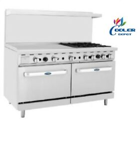 New 60 Commercial Gas Double Oven Range 36 Griddle 4 Burner Hot Plate Nsf