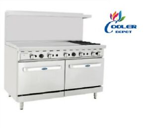 New 60 Commercial Gas Double Oven Range W 48 Griddle 2 Burner Stove Top Nsf