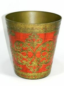 Vintage Florentine Red Waste Basket Trash Can Italy Italian