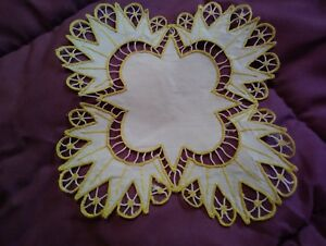 Gorgeous Silk Society Embroidered 6 Linen Doiley