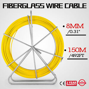 8mm 150m Fiberglass Wire Cable Running Rod Fish Tape Puller Yellow Local 210g m