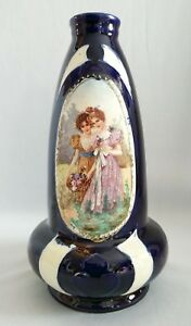 Antique Vase Josef Strnact Cobalt Blue Portrait Vase With Victorian Girls
