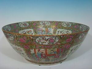 Antique Chinese Rose Medallion Palace Punch Bowl 23 Early 19th C