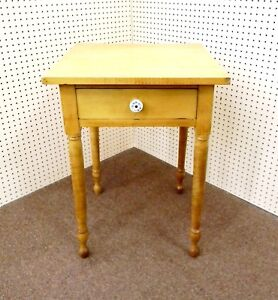 Vintage Tiger Maple Solid Wood Single Drawer Table With Turned Legs