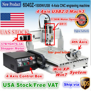 usa 4 Axis 6040 Usb Mach3 1 5kw 1500w Cnc Router Engraving Milling Machine 110v
