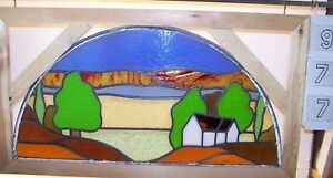 Old Leaded English Stained Glass Window Cottage In Rural Setting