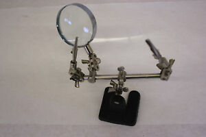 Soldering Iron Stand Holder With Magnifying Glass Clips Die cast Metal Base