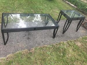 Furniture Glass Top 2 piece Coffee And End Table Set Metal Frame Accent Pick Up