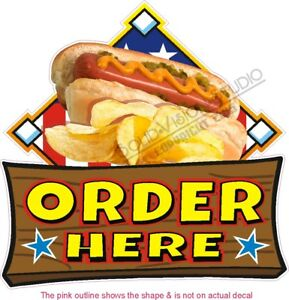 Order Here Hot Dog Concession Trailer Restaurant Food Truck Menu Sign Decal