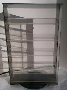 21 1 2 tall X 13 3 4 wide Rotating Display Case With Doors Clear Acrylic