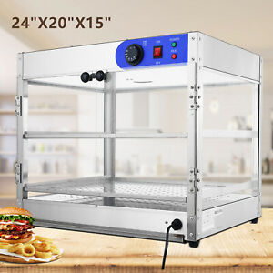24 x20 x15 Commercial 2 tier Countertop Food Pizza Warmer Display Cabinet Case