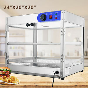 24 x20 x20 Commercial 2 tier Countertop Food Pizza Warmer Display Cabinet Case