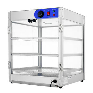 20 x20 x24 Commercial 3 tier Countertop Food Pizza Warmer Display Cabinet Case