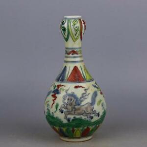 8 Collect Old Ancient China Doucai Porcelain Beast Painted Flower Vase Bottle