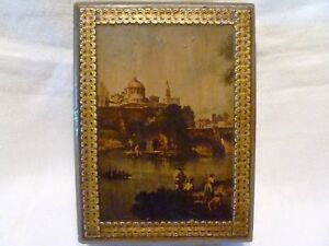 Antique Italian Wood Double Playing Card Box Decoupage Art Print Gold Trim Italy