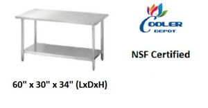 New 60 X 30 X 34 Prep Table Commercial Kitchen Equipment Stand Stainless Nsf