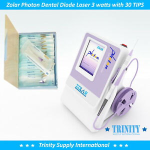Dental Diode Laser 3 Watts Complete Zolar Photon With 30 Tips 20 Pre Set Progrs