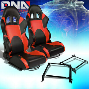 Pair Of Woven Fabric Fully Reclinable Racing Seat Bracket Fit 88 91 Honda Crx