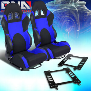 2x Woven Fabric Fully Reclinable Racing Seat bracket Blue Fit 99 04 Ford Mustang