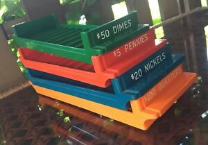 Toys r Us Coin Trays Quarter Dime Nickle Penny Bank Coin Roll Holder Rare