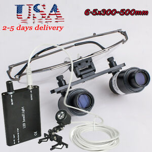 6 5x 300 500mm Dental Loupes Surgical Binocular Loupe Magnifier led Head Lamp