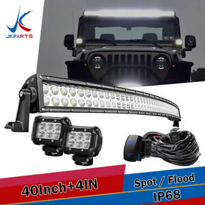 Roof 50 288w Curved Led Light Bar 4 Pods For 99 04 Jeep Grand Cherokee Wj