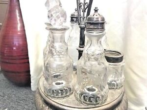 Vintage Reed Barton 7pc Silver Plated Cruet Castor Set W Stand