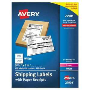 Avery Shipping Labels With Paper Receipt Bulk Pack 5 1 16 X 7 5 072782279011