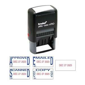 Trodat Economy 5 in 1 Date Stamp Self inking 1 X 1 5 8 Blue r 010736057209