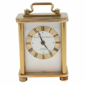 Van Cleef Arpels 8 Days Vintage Brass Silver Dial Hand Wind Table Alarm Clock