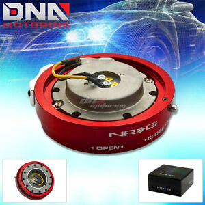 Nrg Thin Slim Version Steering Wheel Quick Release Red Hub Kit Adapter 6 Hole