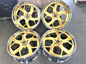 24 Rucci Forged Wheels Set 4 2 Piece Rims Staggered 24x9 24x10 Liquid Gold 24k
