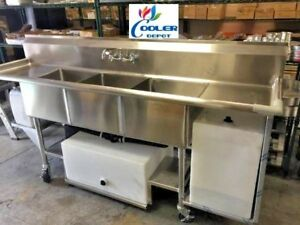 New 90 Portable 3 Compartment Sink Stainless Steel Event Festival Catering Nsf