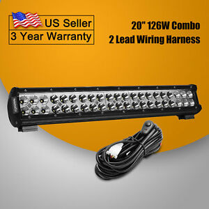 20inch 126w Spot Flood Combo Beam Led Light Bar Wiring Harness Kit Suv Jeep