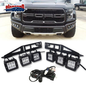 For 2017 2019 Ford F 150 144w Fog Led Light Bar Lower Bumper Bracket Wiring Kit