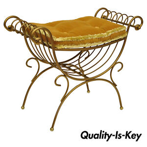 Italian Hollywood Regency Gold Curule Wrought Iron X Frame Vanity Bench Seat