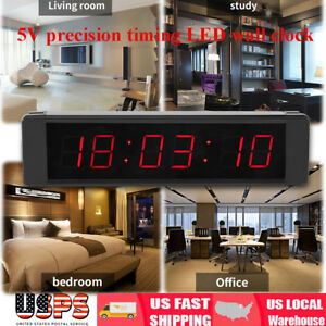 Big Wall Mount Led Clock Digital Display School Home Industrial W Remote Control