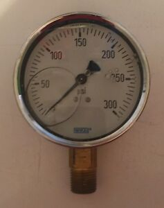 Wika 0 300 Psi 4 Brass Glycerin Filled Pressure Gauge