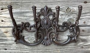 Cast Iron Large Victorian 4 Hook Wall Mount Vintage Coat Rack Holder