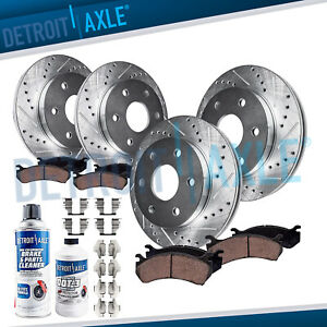 For 2003 2009 4runner Gx470 Front 338mm Rear Drilled Rotors Ceramic Brake Pads