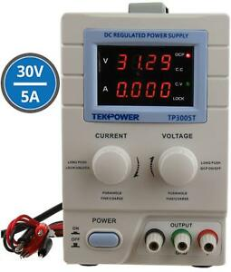 Variable Linear Dc Power Supply 0 30v 0 5a Alligator Test Leads 110v Input Lcd