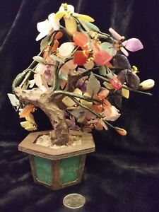 Antique Vintage Oriental Genuine Gemstone And Carved Jade Bonsai Tree
