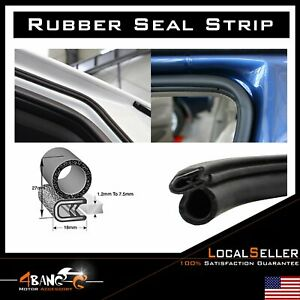 Rubber Seal Weatherstrip Lock Trim Car Auto Door Trunk Edge Guard Black 32 Feet