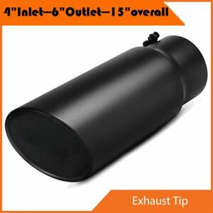 Black 4 Inlet 6 Outlet 15 Overall Bolt On Diesel Exhaust Tip Stainless Steel