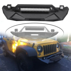 Textured Front Bumper W Led Light Bar For Jeep Wrangler Jk Unlimited 2007 2018