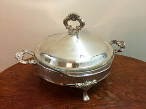 Vintage Covered Silver Plate Serving Dish Bowl With Pyrex Bowl Dinning Set