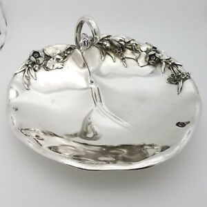 Mh Wilkens Sohne 800 Silver 10 Inch Floral Peach Shape Fruit Bowl Dish German