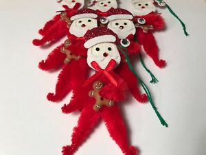 Chenille Christmas Ornaments Vintage Santa Feather Tree Gift Tag Item S2