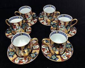 Japanese Imari Design Porcelain Cup And Saucer Set Of 6