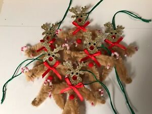 Vintage Style Deer Christmas Ornaments Chenille Feather Tree Gift Tag Item D2